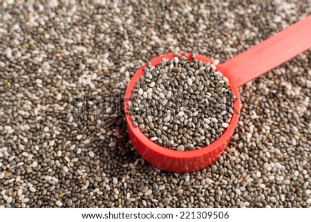 Chia seeds in a red measuring spoon - stock photo