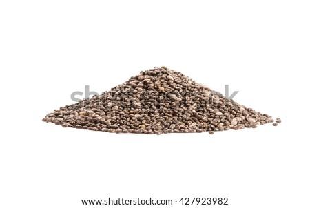 Chia seeds pile isolated on white background. Shallow DOF - stock photo
