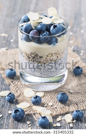 Chia seeds pudding with blueberries - stock photo