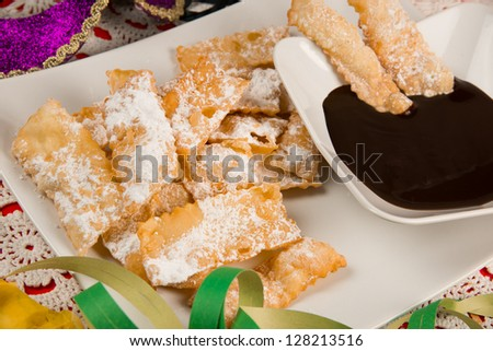 chiacchiere, italian fried carnival cookies with icing sugar