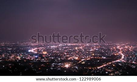 Chiang Mai city view at nigh, Thailand - stock photo
