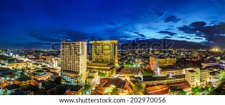 Chiang mai cityscape panorama night view, Thailand. - stock photo