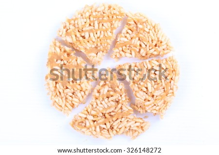Chiang Mai snack (rice fired and sirup on top), Thailand food, - stock photo