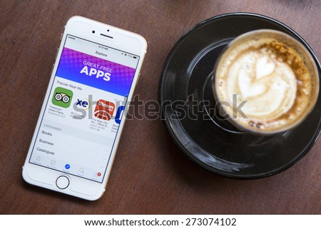 CHIANG MAI, THAILAND - APRIL 22, 2015: App Store features information page on brand new Apple iPhone 6. App Store is a digital distribution service for mobile apps on iOS platform. - stock photo