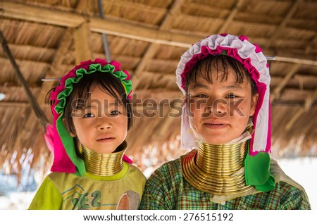 Chiang Mai, Thailand - April 6, 2015: Long neck lady. Kayan Lahwi tribe known for wearing neck rings, brass coils to extend the neck. Kayan, Red Karen (Karenni).