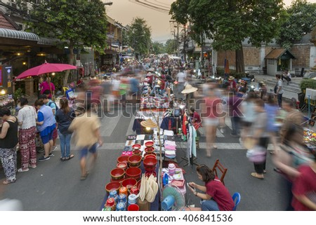CHIANG MAI THAILAND - APRIL 17 : Sunday market walking street, The city center Thai temple marketing and trading of local tourists come to buy souvenirs. on Apr 17, 2016 in Chiang Mai, Thailand. - stock photo