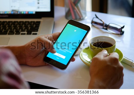 CHIANG MAI,THAILAND DEC 30 - 2015 : Apple iPhone 6 plus showing log in Twitter application. Twitter is largest and most popular social networking site in the world. - stock photo