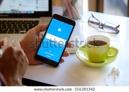 CHIANG MAI,THAILAND DEC 30 - 2015 : Facebook is an online social networking service founded in February 2004 by Mark Zuckerberg with his college roommates and is now a fortune 500 company. - stock photo