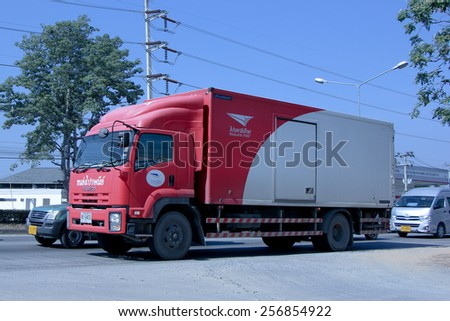 CHIANG MAI, THAILAND - DECEMBER  25 2014:  Container truck of Thailand Post.  Photo at road no.1001 about 8 km from city center, thailand.