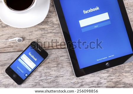 Chiang mai,THAILAND Fab 25, 2015: Facebook the largest social network in the world. It was founded in 2004 by Mark Zuckerberg and his roommates during training at the Harvard University. - stock photo