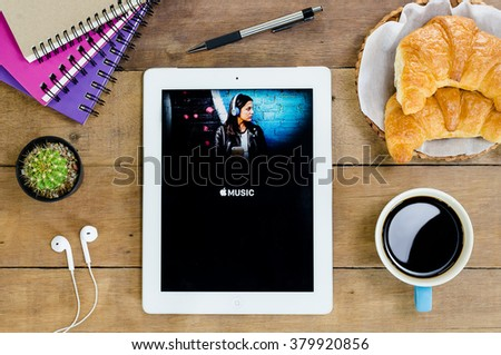 CHIANG MAI,THAILAND - FEB 22,2016 : Screen shot of Apple music application showing on iPad 4. Apple Music is the new iTunes-based music streaming service that arrived on iPad. - stock photo