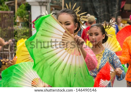 CHIANG MAI,THAILAND-FEB.2 : 37th Anniversary Chiang Mai Flower Festival, Unidentified woman in parade annual Chiang Mai flower festival. on Feb.2, 2013 in Chiang Mai,Thailand.
