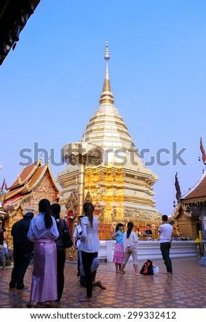 CHIANG MAI , THAILAND - JANUARY 17 2014 : Golden Pagoda in Chiang mai Thailand - stock photo