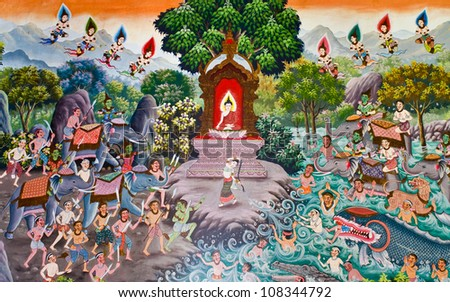 CHIANG MAI, THAILAND - JULY 8: A traditional Thai wall painting portraying the history of Buddha on display at a Thai temple on July 8, 2012 in Chiang Mai, Thailand.