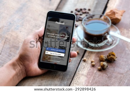 CHIANG MAI, THAILAND - JULY 3, 2015: Close-up shot of brand new Apple iPhone 6 plus with Pinterest application login on a screen. - stock photo