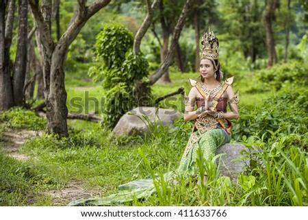 Chiang Mai Thailand-June,4,2012: Portrai of Apsara actress in the big forest Chiang Mai Thailand
