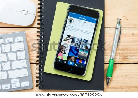 CHIANG MAI, THAILAND - MAR 06,2016: Apple iPhone with Instagram application on the screen. Instagram is a photo-sharing app for smartphones. - stock photo
