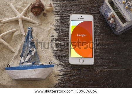 CHIANG MAI, THAILAND - MAR 13 2016 : iPhone displaying the Google Plus application. Google Plus is Google's attempt at social networking. - stock photo