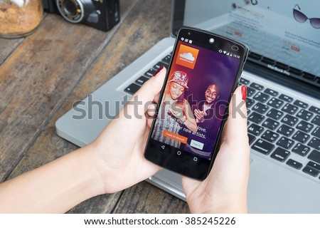 CHIANG MAI, THAILAND -March 2, 2016:LG Nexus 5 open SoundCloud online-platform and site to distribute digitized audio information and having the functions of a social network. - stock photo