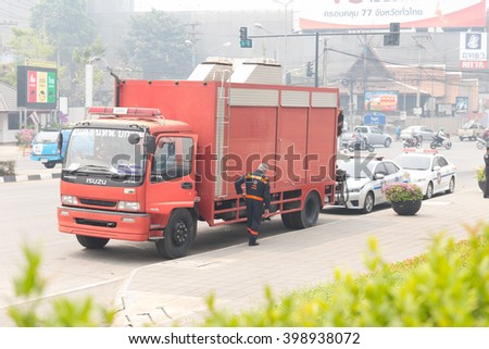 Chiang Mai, Thailand - March 25, 2016: paramedic truck for emergency service in mock disaster drill at Maya shopping center in Chiang Mai, Thailand on March 25, 2016.
