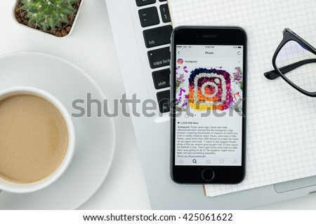 CHIANG MAI, THAILAND - May 22,2016: Apple iPhone with Instagram application on the screen. Instagram is a photo-sharing app for smartphones. - stock photo