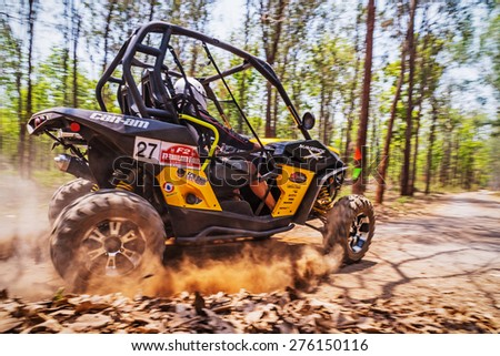 CHIANG MAI, THAILAND - MAY 03: Undefined Driver on Side-by-Side Vehicles (UTV) on the tracks, May 03, 2015 in Chiang mai, Thailand. - stock photo