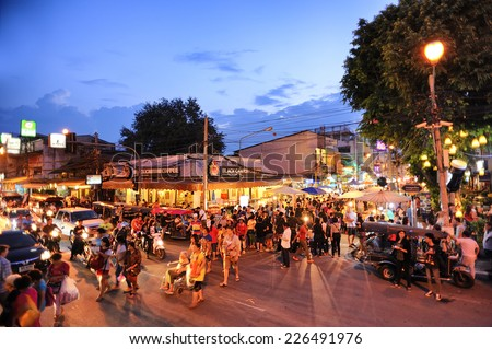 CHIANG MAI THAILAND - OCTOBER 12 : Sunday market walking street,  on Oct. 12,2014 in Chiang Mai, Thailand.  - stock photo