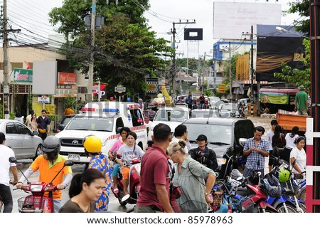 CHIANG MAI THAILAND - SEPTEMBER 28 : Flooding the Chiangmai city.Conditions of the people who panic disorder with rapid flooding on September 28,2011 in Chiangmai Thailand - stock photo