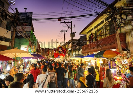 CHIANG MAI THAILAND - SEPTEMBER 29 : Saturday market walking street, Popular tourist souvenirs and visit the local craft market is be held every Saturday. on September 29,2014 in Chiang Mai, Thailand. - stock photo
