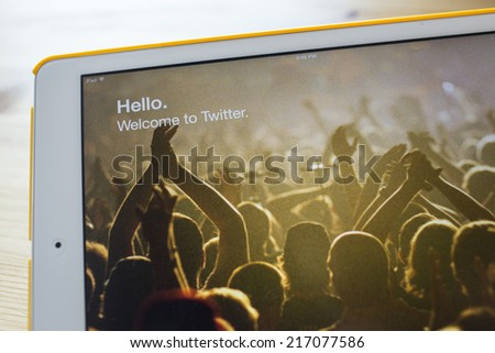CHIANG MAI, THAILAND - SEPTEMBER 07, 2014: Twitter application sign in page Apple iPad Air. Twitter is largest and most popular social networking site in the world. - stock photo