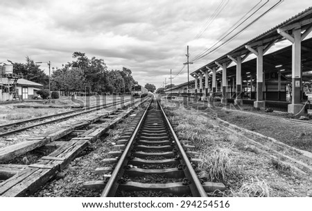 Chiang mai train station in the evening - black and white tone - stock photo