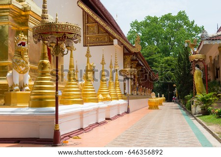 Chiang Rai, Thailand - Apr 20 2017: Stupa at Wat Phra Sing. a famous historic temple in Chiang Rai, Thailand.