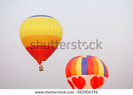 CHIANG RAI, THAILAND FEBRUARY 11, 2016:Singha Park International Balloon Fiesta 2016, take place between February 10th and 14th at Singha Park ,Chiang Rai province ,Thailand.