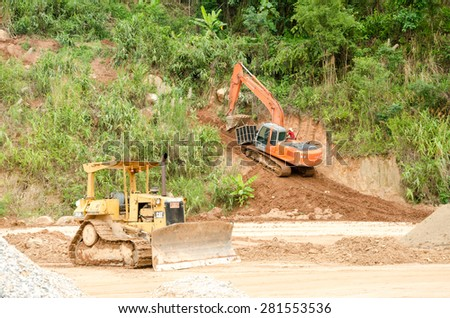 CHIANG RAI,THAILAND- MAY 25 : Natural disasters, landslides during in the rainy season at Mae Suai district on May 25, 2015 in Chiang Rai Thailand - stock photo