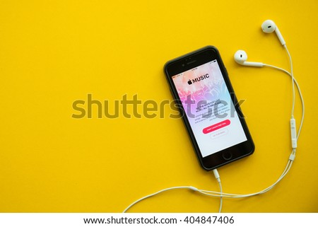 CHIANGMAI,THAILAND - Apirl 12, 2016: Screen shot of Apple music app showing on iPhone 6. Apple Music is the new iTunes-based music streaming service that arrived on iPhone - stock photo