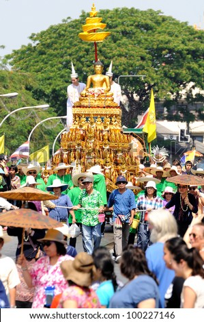 CHIANGMAI THAILAND-APRIL 13:Chiangmai Songkran festival.The tradition of bathing the Buddha Phra Singh marched on an annual basis. With respect to faith.on April 13,2012 in Chiangmai,Thailand.