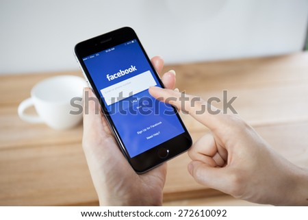 CHIANGMAI,THAILAND - APRIL 26, 2015:Facebook is an online social networking service founded in February 2004 by Mark Zuckerberg with his college roommates and is now a fortune 500 company. - stock photo