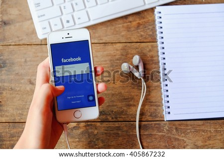 CHIANGMAI, THAILAND -April 14, 2016: Facebook is an online social networking service founded in February 2004 by Mark Zuckerberg with his college roommates and is now a fortune 500 company. - stock photo