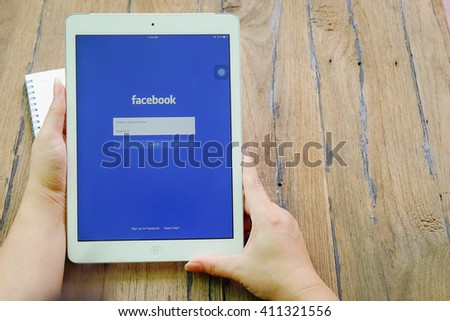 CHIANGMAI, THAILAND -April 23, 2016: Facebook is an online social networking service founded in February 2004 by Mark Zuckerberg with his college roommates and is now a fortune 500 company. - stock photo