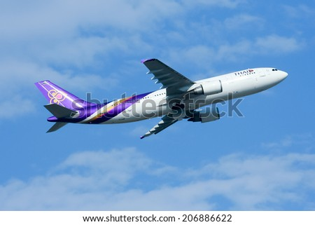 CHIANGMAI , THAILAND - APRIL 12 2009: HS-TAF Airbus A300-600 of Thaiairway. Take off from Chiangmai airport to Bangkok Suvarnabhumi.