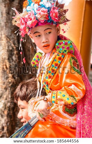 CHIANGMAI,THAILAND- APRIL 5 : Poy Sang Long festival,A Ceremony of unidentified boys to become novice monk,at  Wat Pa Pao temple  on April 5,2014 in Chiangmai, Thailand.