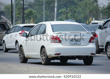 CHIANGMAI, THAILAND -APRIL 26 2016: Private car, Toyota Vios. Photo at road no.121 about 8 km from downtown Chiangmai, thailand.