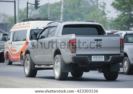 CHIANGMAI, THAILAND -APRIL 29 2016:  Private Pickup car, Ford Ranger. On road no.1001, 8 km from Chiangmai city.