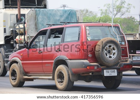 CHIANGMAI, THAILAND -APRIL 25 2016:   Private Suv car, Nissan Terrano. On road no.1001, 8 km from Chiangmai city.