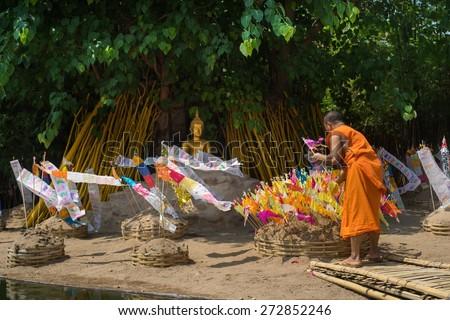 CHIANGMAI, THAILAND - APRIL 15: Thai monks in Phantao temple in Songkran Festival 2015 on April 15, 2015 in Chiang Mai, Thailand. - stock photo