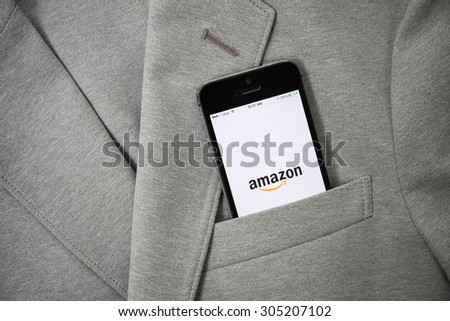 CHIANGMAI, THAILAND - AUGUST 11, 2015: Amazon.com, Inc. is an American international electronic commerce company. It is the world's largest online retailer. Site went online as Amazon.com in 1995 - stock photo