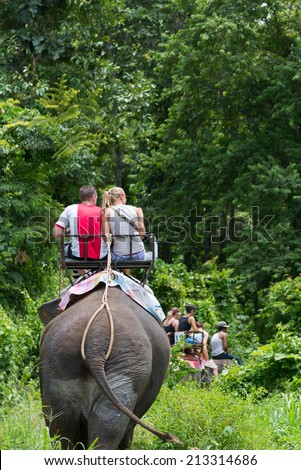 CHIANGMAI; THAILAND - August. 23: Daily elephant show at The Thai Elephant Conservation Center; mahout show how to ride and transport in forest; August 23; 2014 in ChiangMai; Thailand. - stock photo
