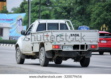 CHIANGMAI, THAILAND -AUGUST 20 2015:  Private Tata Giant Pickup truck. Photo at road no 121 about 8 km from downtown Chiangmai, thailand.