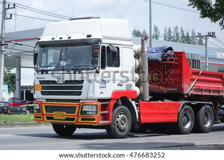 CHIANGMAI, THAILAND -AUGUST 10 2016: Shacman Trailer Truck of Nakhonsawan Tung Prasert company. On road no.1001, 8 km from Chiangmai Business Area.