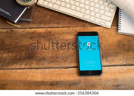 CHIANGMAI,THAILAND - DEC 27,2015 : Periscope app log in screen on a Apple iPhone 6 plus. Periscope is made by Twitter - lets you broadcast live video to the world. - stock photo